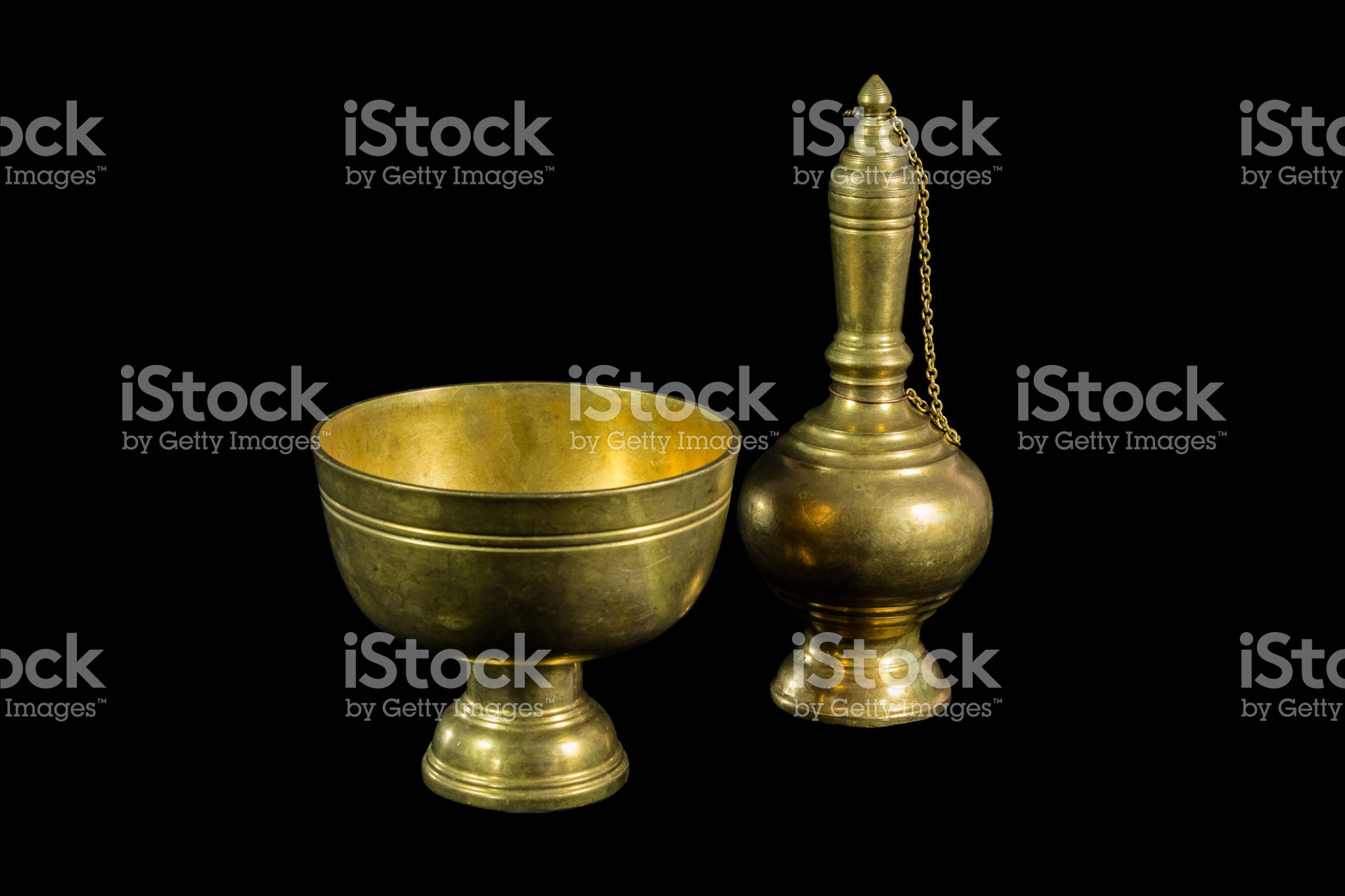 Old brass ewer container pour water