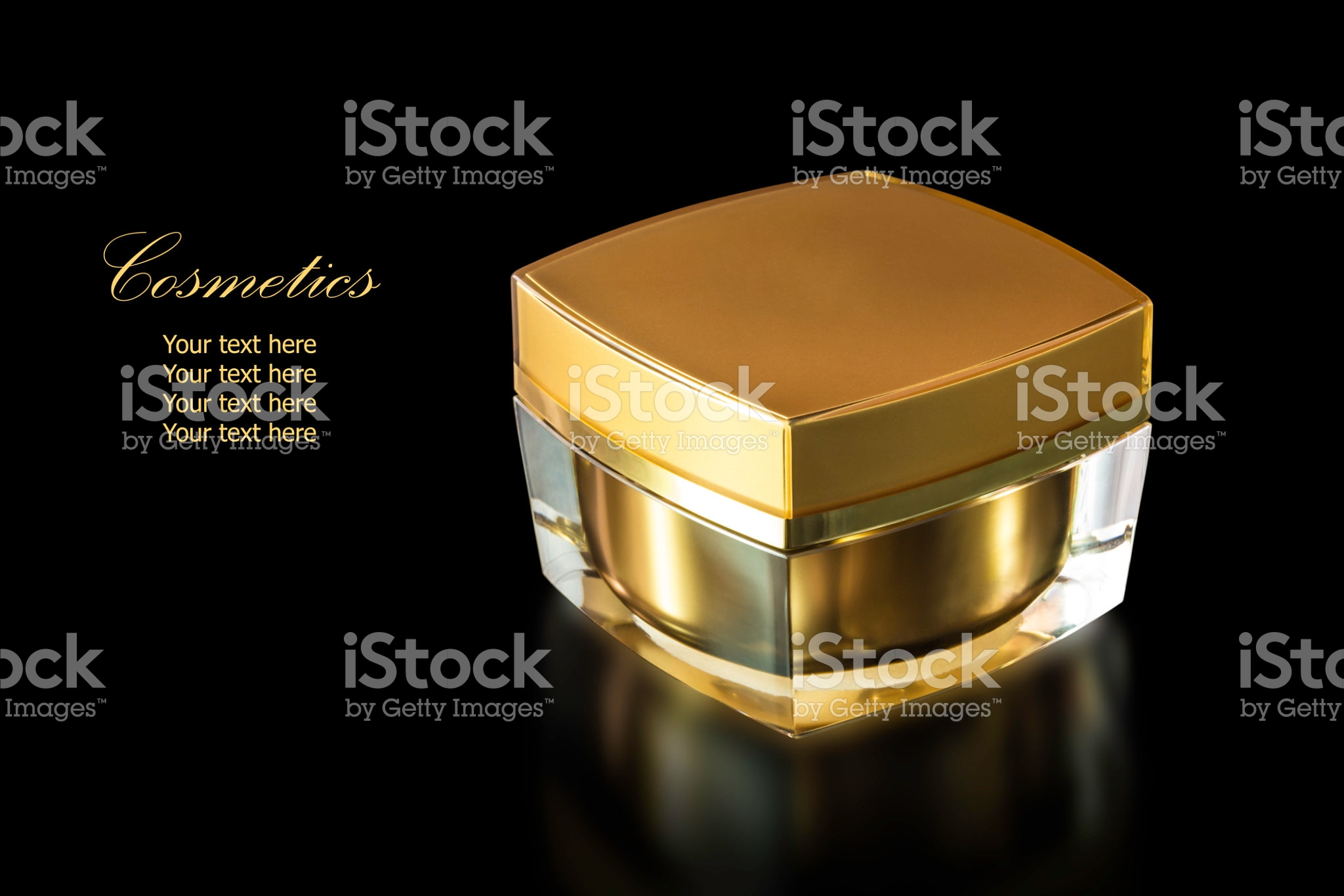 Gold colored blank cosmetic-container