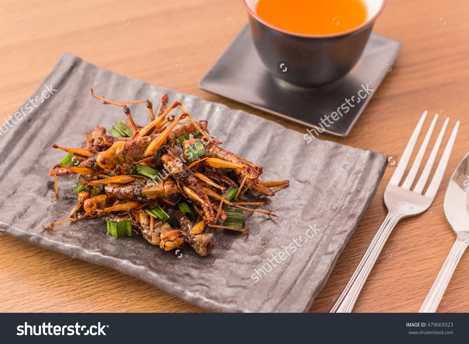 Grasshopper fried insect crispy