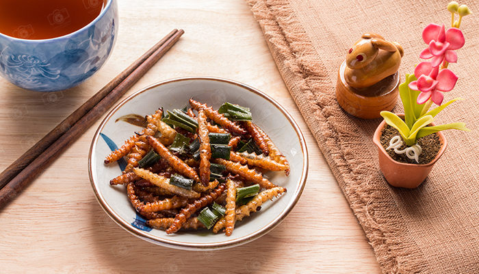 Wood worm insect crispy with pandan