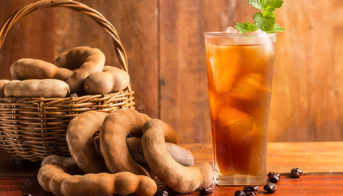 Tamarind juice, Delicious sweet drink tamarind and ice with mint leaves